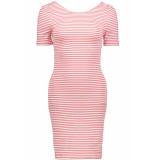 Only Onlbella s/s deep dress jrs 15180991 cloud dancer/geranium rood