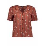 Vero Moda Vmelva s/s v-neck shirt wvn ga 10217600 mahogany/elva roze