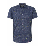 Tom Tailor Overhemd met all over print 1011877xx12 18290 blauw