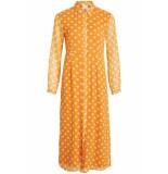VILA Vienna 3/4 ankle dress 14054719 golden oak/cloud dancer geel