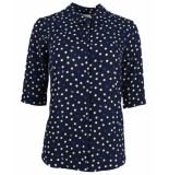 Another Label Blouse d28-419104 bache polka blauw