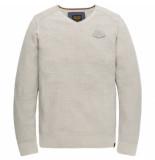 PME Legend Pkw195300 910 v-neck cotton mouline bone white melee grijs