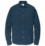 Cast Iron Csi195602 5287 long sleeve shirt cf print dark sapphire blauw