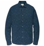 Cast Iron Csi195602 5287 long sleeve shirt cf print dark sapphire blauw