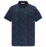 Cast Iron Cpss195344 5287 short sleeve polo popcorn mercerized jersey dark sapphire blauw