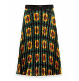 Scotch & Soda 153307 0596 printed pleated midi length rok combo q