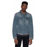 Nudie Jeans Co casual overhemd met lange mouwen blauw