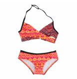 Zee & Zo Zee & zo halter meisjes bikini paraiso ikat red uv 40+ rood