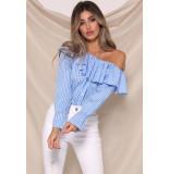 Runaway C.e.o. blouse – blauw met wit gestreept