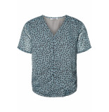 Pieces Pcmarie ss v-neck top d2d 17099008 chinois green.with black blauw