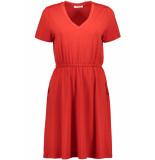 Pieces Pccath ss solid dress 17097513 aura orange rood