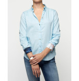 A Fish Named Fred Blouse tropical sleeves blue blauw