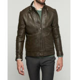 Bertoni of Denmark Jas leather jacket pori brown/green bruin