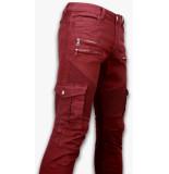 True Rise Ripped jeans slim fit biker jeans side pocket & zippers