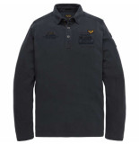 PME Legend Long sleeve polo rugged pique salute blauw