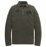 PME Legend Long sleeve polo rugged pique raven grijs
