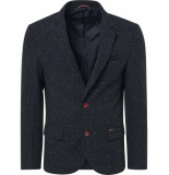 No Excess R, tweed with neps, fully line night blauw