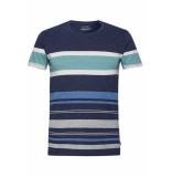 EDC Jersey shirt met strepen 069cc2k031 c400 blauw