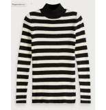 Maison Scotch 151294 17 fitted rib knit with high neck combo a zwart
