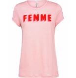 Summum 3s4287-30059 531 top short sleeve linen jersey sugar pink
