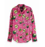 Maison Scotch 149789 18 oversized boxy fit cotton viscose shirt in various prints combo b rood