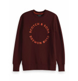 Scotch & Soda Club nomade basic crewneck with art nomade red rood