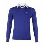 Pierre Cardin Pullover met overhemdkraag blauw