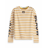 Maison Scotch 150689 19 breton long sleeve tee with high neck combo c