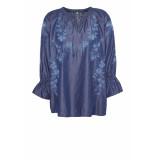 DIDI Denim blouse met geborduurde opdruk blauw