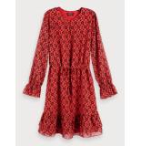 Scotch & Soda 152531 0588 sheer printed ruffle dress rood