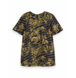 Scotch & Soda 152483 17 short sleeve printed top with ladder inserts combo a