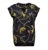 Only Onlchain s/s top wvn 15195741 night sky/chain/tiger blauw