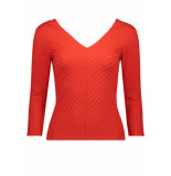 Only Onlgina 3/4 v-neck top jrs 15186174 fiery red rood