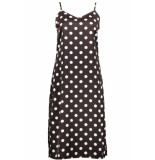 Pieces Pckamira printed slip dress d2d 17102963 chocolate plum/white dots bruin