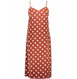 Pieces Pckamira printed slip dress d2d 17102963 picante/white dots oranje