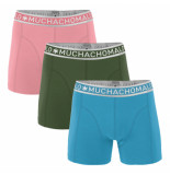 Muchachomalo Boys 3-pack short solid/solid/solid roze