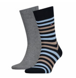 Tommy Hilfiger 2-pack sokken blauw & grijs 832