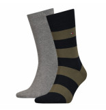 Tommy Hilfiger 2-pack sokken 150 grijs & olijf groen