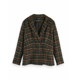 Maison Scotch Double breasted fitted blazer in check groen