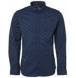 Noize Shirt, l/s, all over printed tonal dk petrol blauw
