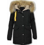 Macleria Parka jas dames – met bontkraag – zwart