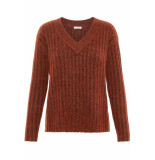 Pieces Pcnew sanni ls wool v-neck knit 17097452 picante oranje