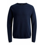 Jack & Jones Jjehill knit crew neck noos 12157321 ensign blue/twisted wi blauw