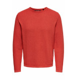 Only & Sons Onshugh line crew knit noos 22007422 aura orange oranje