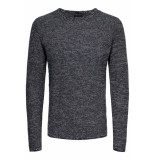 Only & Sons Onswictor 12 structure crew neck n 22012290 dress blues blauw