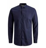 Jack & Jones Jprvictor shirt l/s noos 12158304 navy r/slim fit blauw