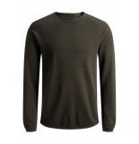 Jack & Jones Jjehill knit crew neck noos 12157321 olive night/melange groen