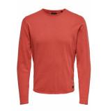 Only & Sons Onsgarson wash crew neck knit noos 22006806 aura orange oranje