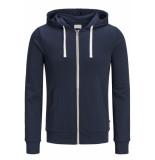 Jack & Jones Jjeholmen sweat zip hood noos 12136884 navy r/ reg fit blauw