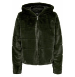 Only Onlchris fur hooded jacket otw noos 15156560 forest night groen